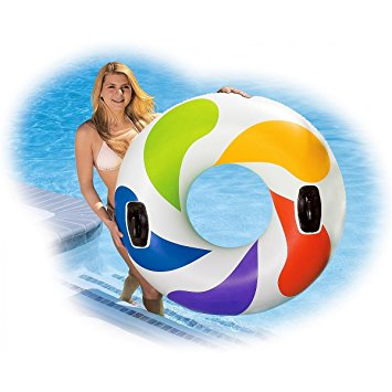 "Intex Color Whirl Tube Float 47"" Pool Raft with Handles"