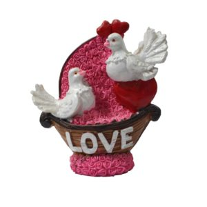 2 birds with red heart decoration piece of love