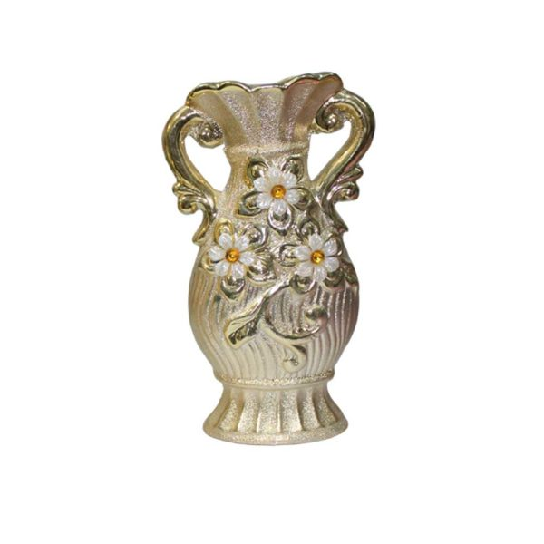 Decoration vase piece for flowers in golden color in pakistan