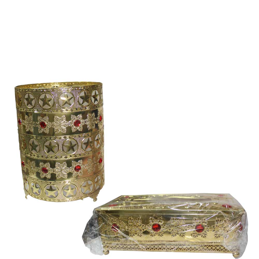 Dustbin - Tissue box set in golden color in pakistan