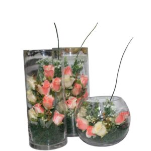 Glass Decorated piece for flowers