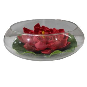 Glass mug with red flowers and leaf classic decoration